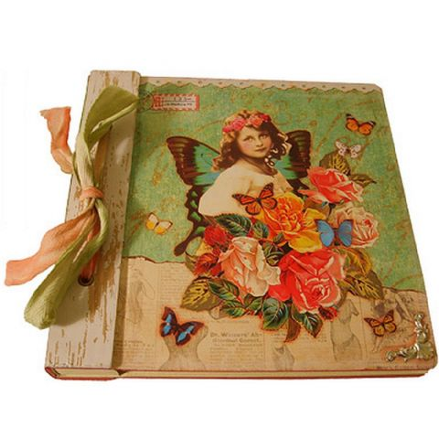 Vintage Butterfly Print Clear Pockets Album with Bow